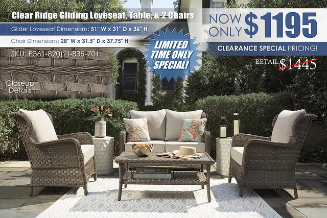 Clear Ridge Glider Loveseat Table and 2 Chairs_P361-835-820(2)-701