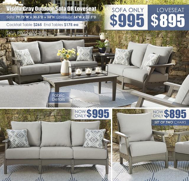 Visola Gray Sofa OR Loveseat_P802