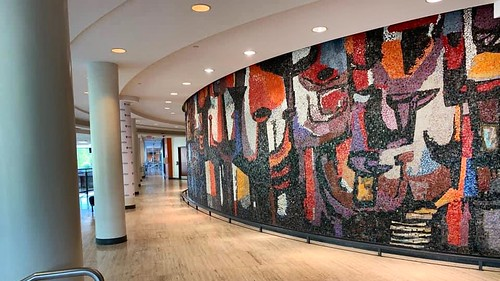 Mosaic called The Pilgrimage of Man by Gerald Trottier in the Tory Building at Carleton U. 1963.