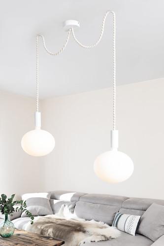 Suspension Araignée Corde Blanche Ampoule Porcelaine