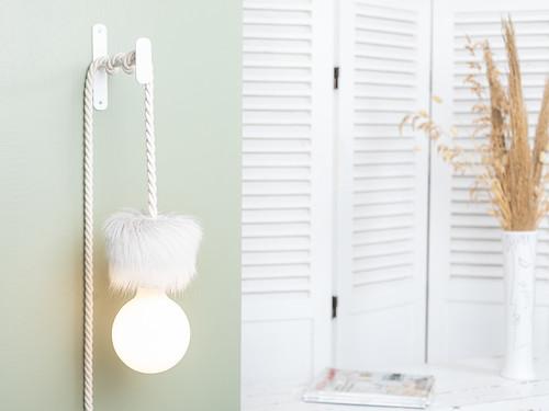 Baladeuse Corde Blanche Ampoule Porcelaine