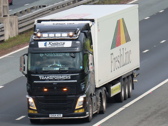 Knights Transport Solutions, Volvo FH (DX64KPF) Transformers Livery On The A1M Southbound