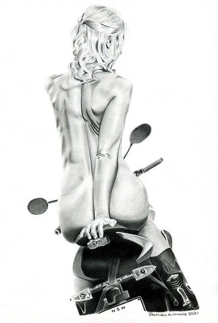 Biker girl by Damien Linnane