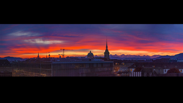 It's a new dawn it's a new day on Bern , Switzerland.  Taken on the way to Italy, / Sunrise on Bern ,   November 1, 2020, Panorama.