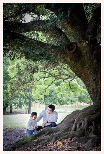 公園の大木の根元 親子フォト