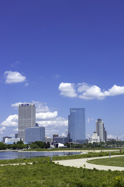Milwaukee Skyline at Lakeshore State Park Vertical