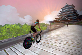Sunrise on the castle climb in Zwift's new Japan-themed world