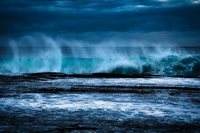 Seaspray before sunrise