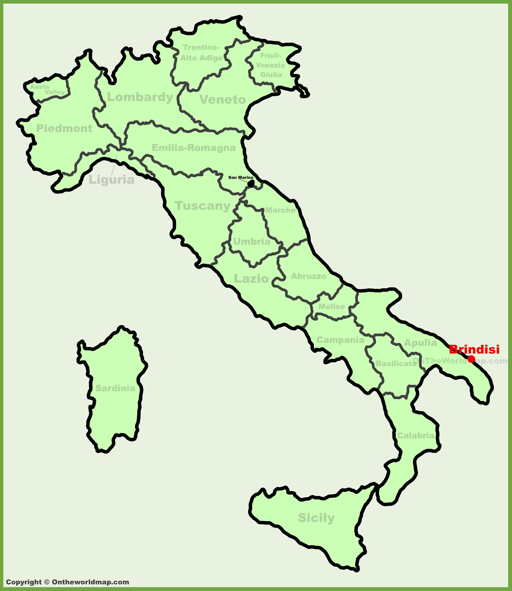 A map of Italy with Brindisi's location on the southern tip indicated with a red dot