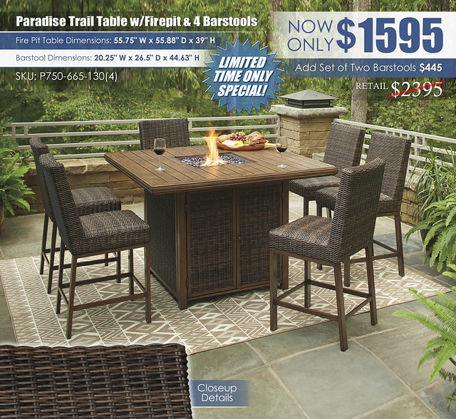 Paradise Trail Table with Firepit and 4 Barstools_P750-665-130(6)-FIRE