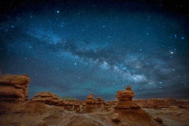 Last night's Milky Way over hoodoo sandstone formations in Goblin Valley State Park, Utah