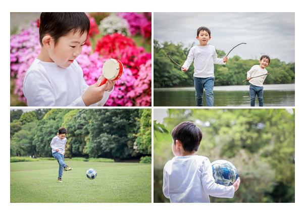 公園で遊ぶ男の子 サッカー 釣りごっこ