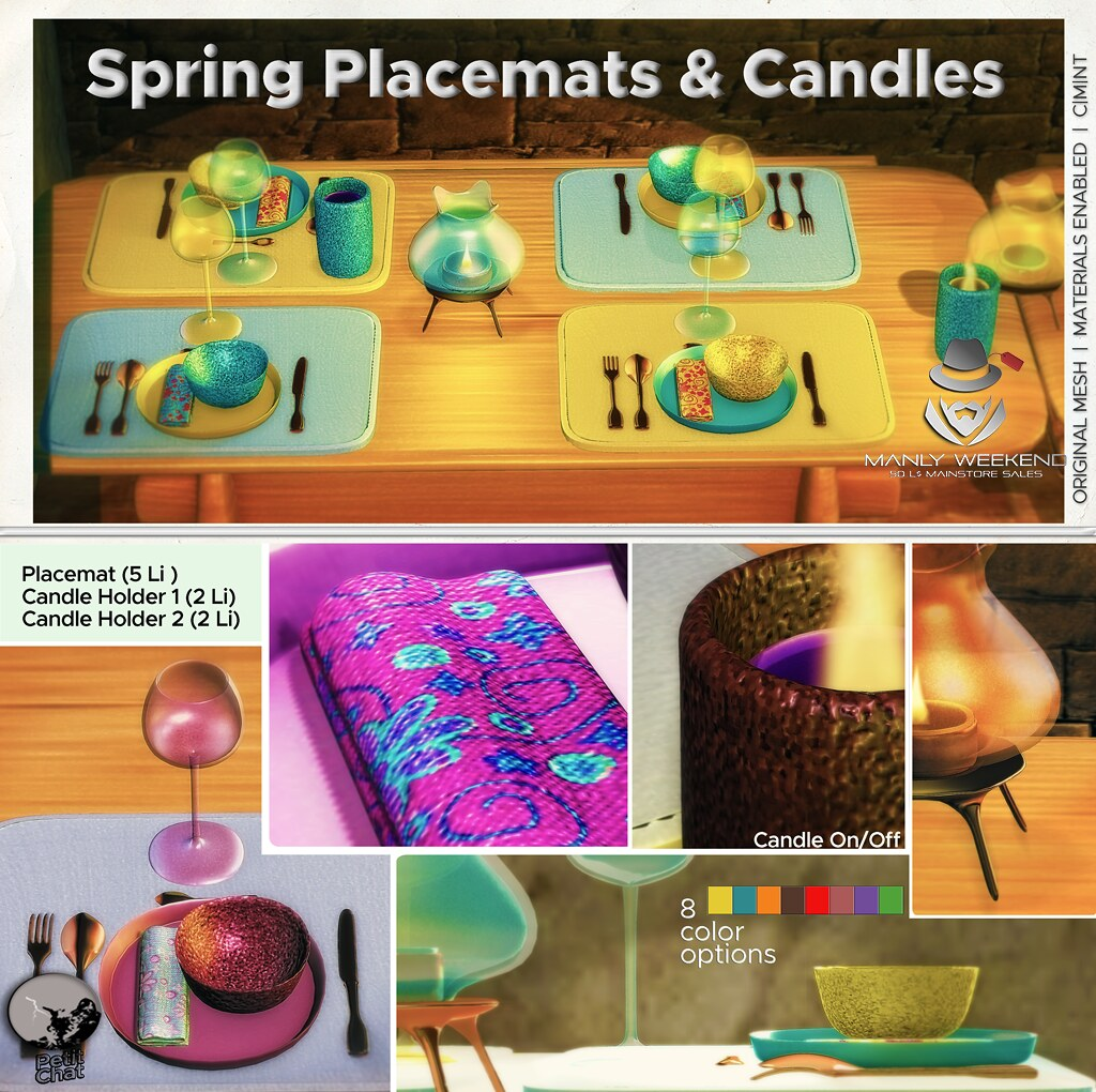 Spring placemats & candles : 50 L$ Deal for Manly Weekend !