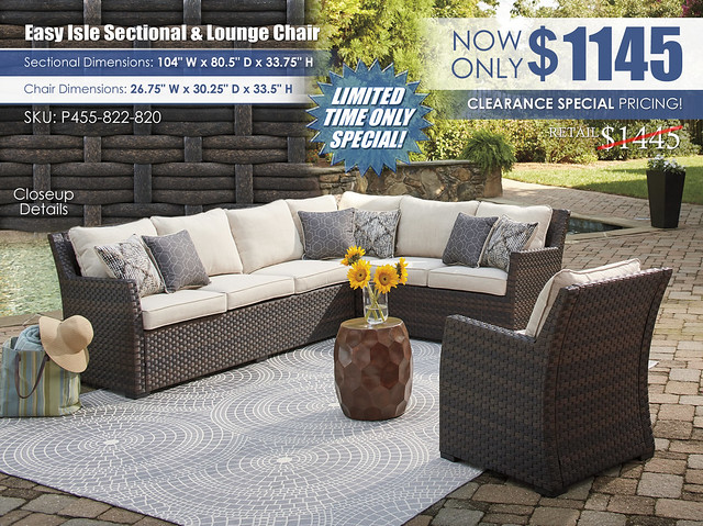 Easy Isle Sectional & Lounge Chair_P455-822-820
