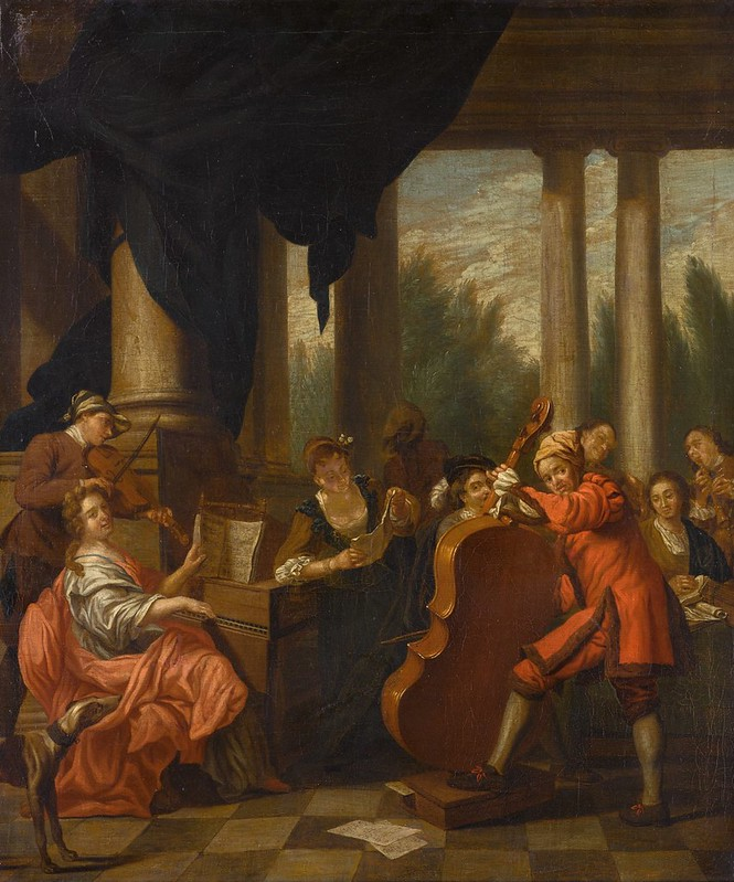 Follower of Jan Josef Horemans (1682-1759) - A scene with a company making music in a loggia