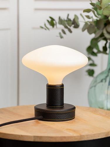 Petite Lampe Cuir Noir Ampoule Porcelaine
