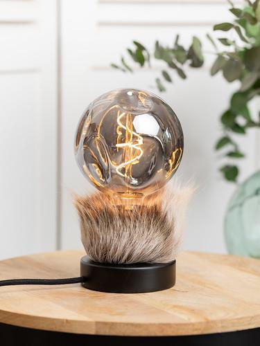 Petite Lampe Bois Noir Ampoule G140 Smoky
