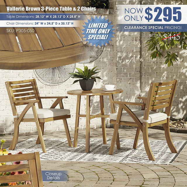 Vallerie Brown 3-PC Table & 2 Chairs_P305-050