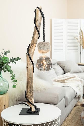 Lampe de Table en Bois Flotté Ampoule G180 Smoky