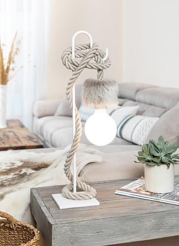 Petite Potence et Corde Lin Naturel Ampoule Porcelaine