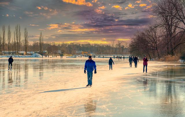 Ice skaters at De Rooije Plas, Handel, The Netherlands.