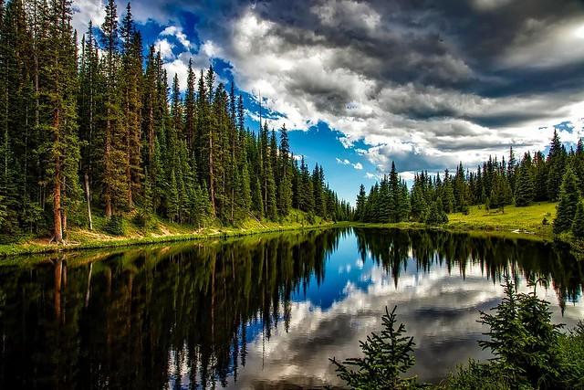 reflejos, en el lago