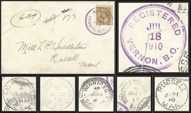 British Columbia / B.C. Postal History / Registered Cover - 18 / 21 July 1910 - VERNON, B.C. (large double ring registered cancel) to Russell, Manitoba via RPO's and Winnipeg, Manitoba