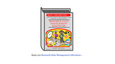 Research Data Management Adventure home screen