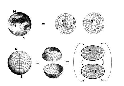 Figura 1, Una sfera si può rappresentare come due dischi incollati per il bordo