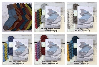 One Sock Kit - Deluxe from The Fibre Co includes a printed copy of the One Sock Pattern by Kate Atherley, one 100g hank plus three 25g mini skeins of The Fibre Co Amble and a project bag.