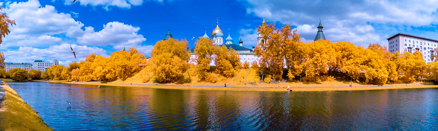 Novospassky monastery in Moscow. Infrared shot.