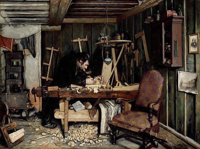Gustav Wentzel - A Carpentry Workshop [1881]