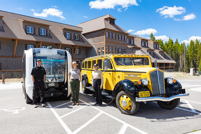 Transportation in Yellowstone, old and new: Beep and Xanterra Drivers with NPS employee (2)