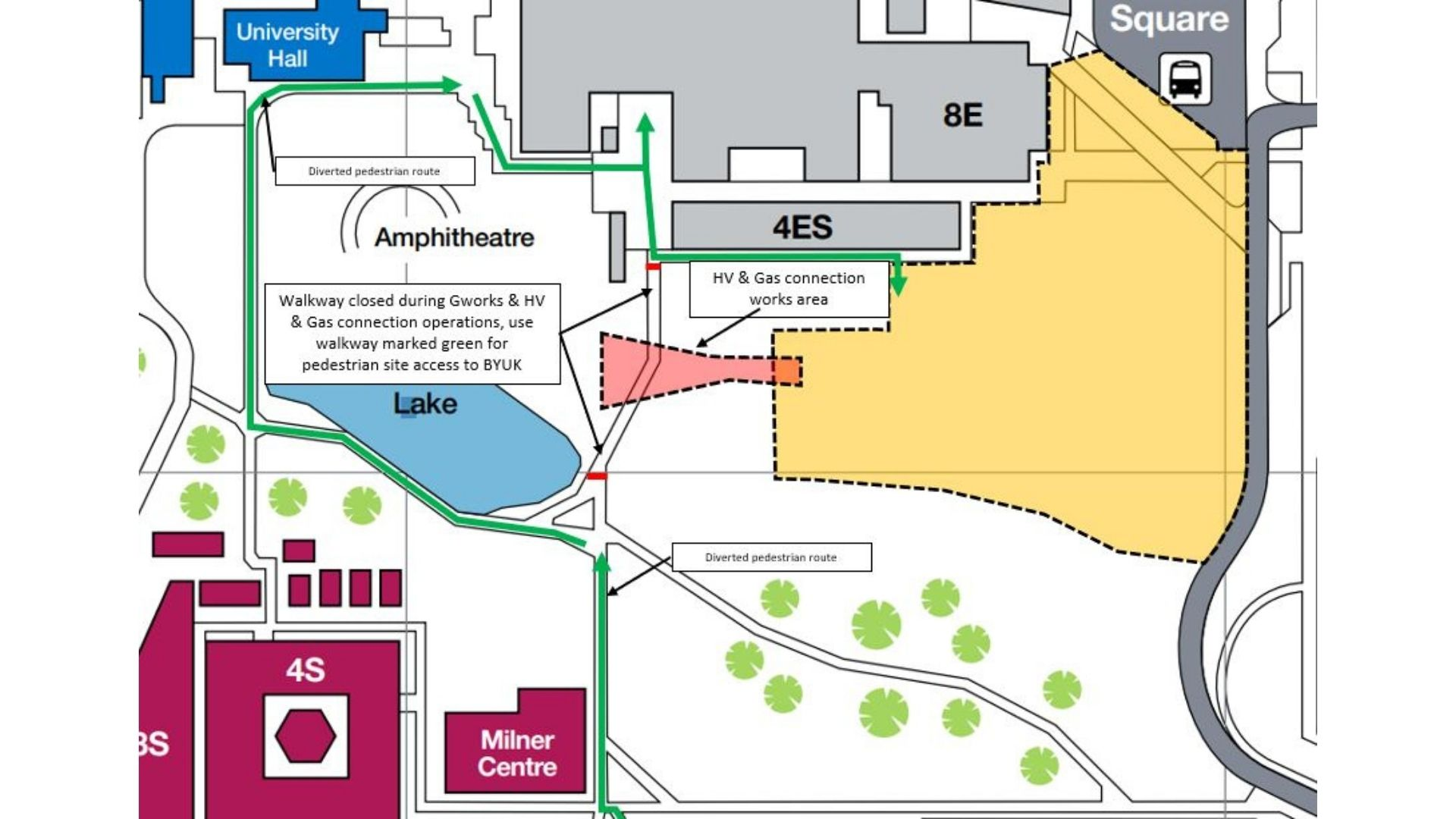 Map of walkway closure