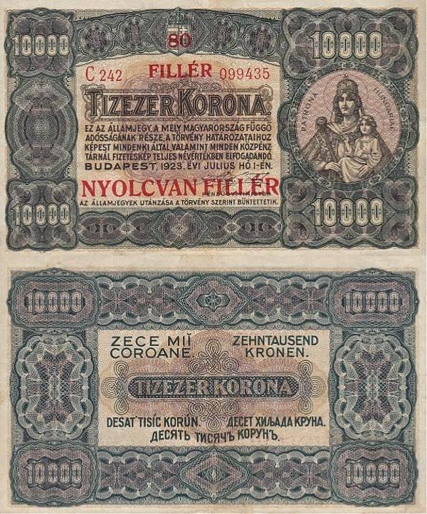 80 fillér na 10 000 korona Maďarsko 1925 - REPLIKA