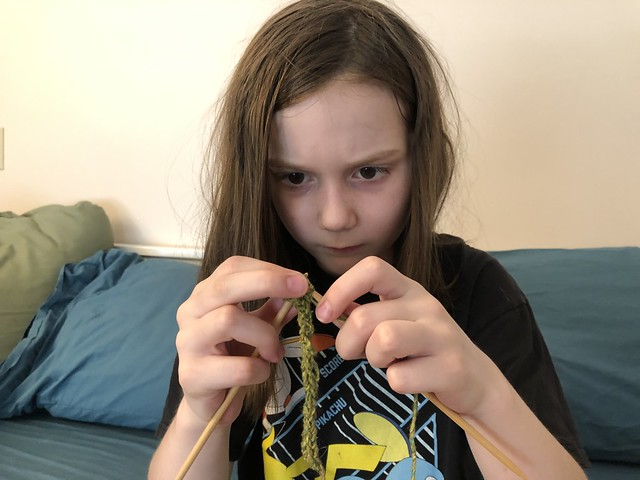 She's learning how to knit i-cord!