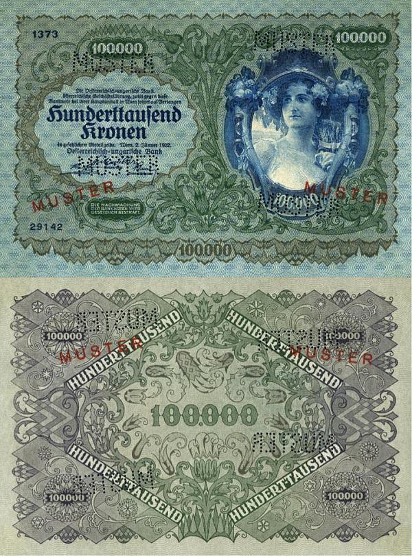 100 000 kronen Rakúsko 1922 MUSTER - REPLIKA