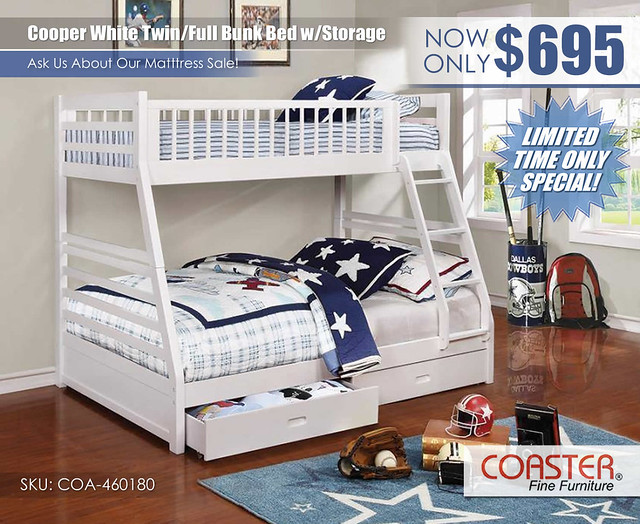 Cooper White Twin over Full Bunk Bed by Coaster_460180_Update