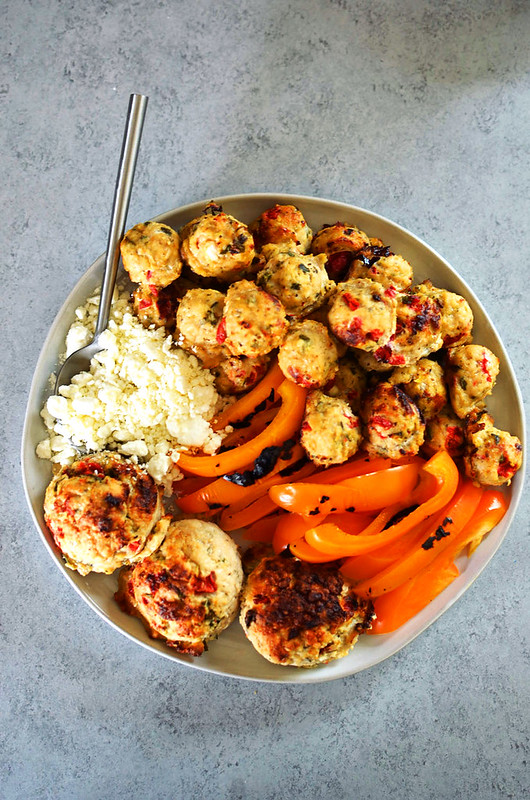 Roasted Pepper and Goat Cheese Chicken Meatballs {Gluten Free, Grain-free, Keto with options for Dairy Free & Whole30}