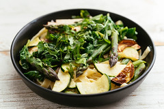 Tagliatelle with Asparagus, Zucchini and Spinach