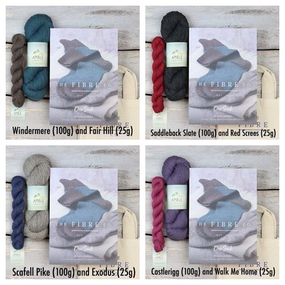 One Sock Kit - Essential from The Fibre Co includes a printed copy of the One Sock Pattern by Kate Atherley, one 100g hank plus one 25g mini skein of The Fibre Co Amble and a project bag.