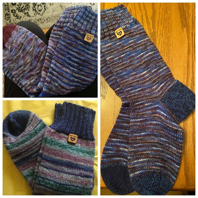 Socks knit by Alison with Katrinkles Knit with Love tags sewn on!