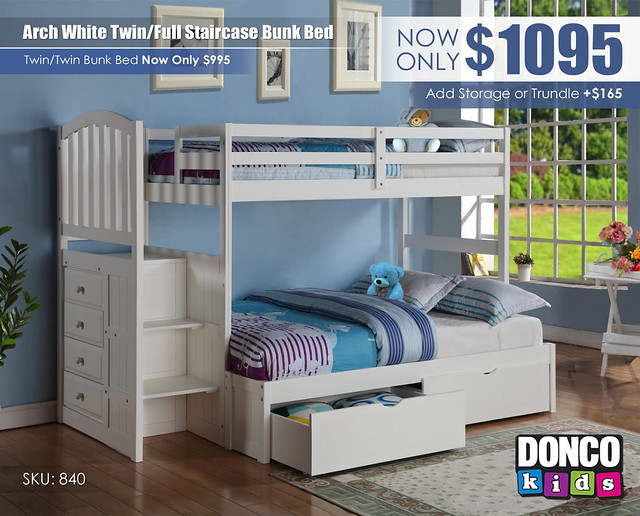 Twin over Full Arch Mission Stairway Bunkbed_840