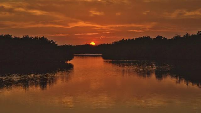 Sunset from Bowman beach bridge. Sanibel Island, Florida