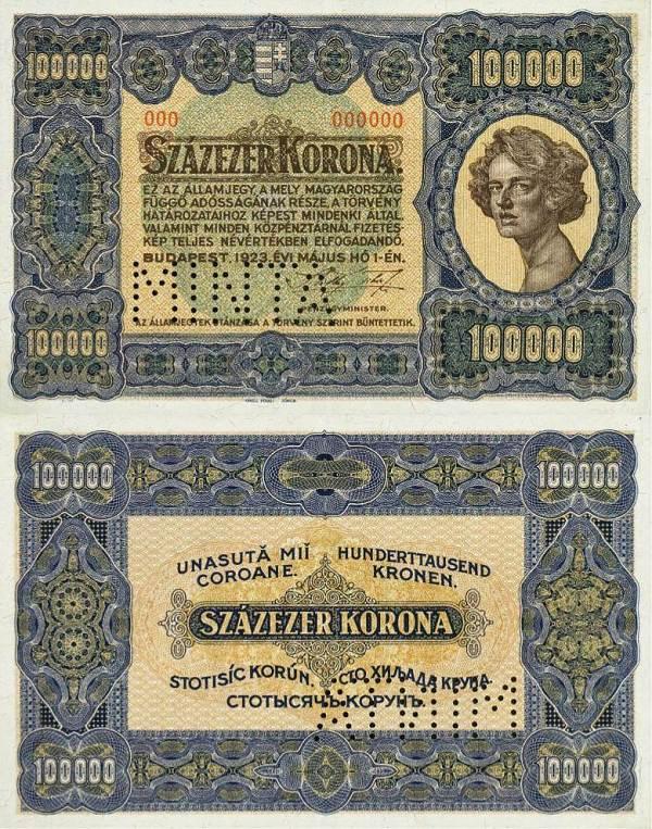 100 000 korona Maďarsko 1923 - REPLIKA