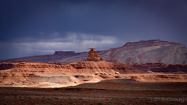 Sunshine on Mexican Hat on Rainy Day