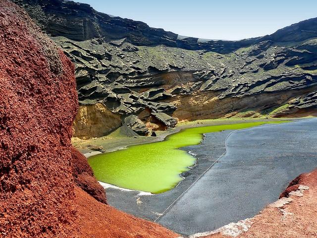 Espagne, les Canaries, l'île de Lanzarote, le Lagoon of El Golfo Lago Verde