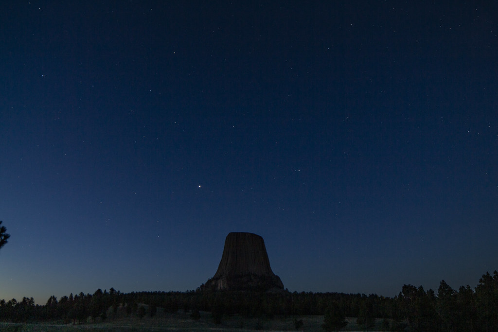 Devils Tower - With Jupiter and Saturn