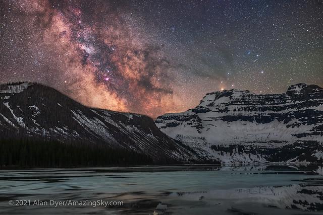 Milky Way over Icy Cameron Lake