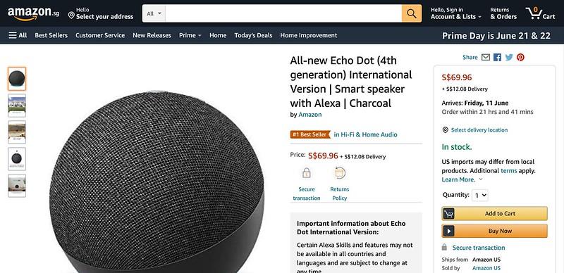 Echo Dot 4th Generation (International Version)